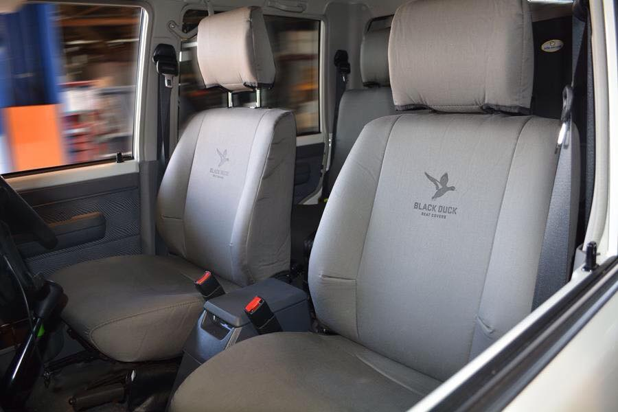 Black Duck Seat Covers Toyota VDJ76 Wagon  (Grey Denim covers shown)