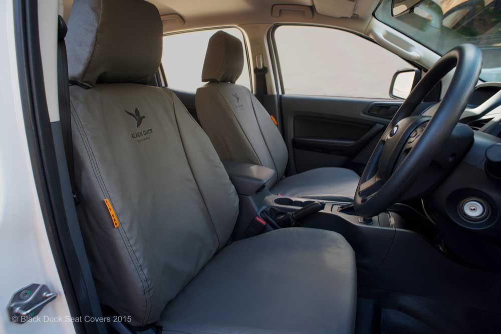 Standard Grey Seat-Airbag Certified Black Duck seat covers.