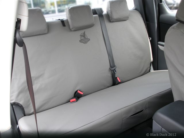 Black Duck Seat Covers Fitted to a Dual Cab for general display purpose as a generic example.