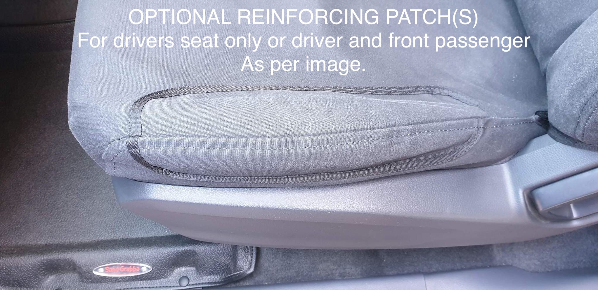 Image of Reinforcing patch sewn onto a passenger seat.