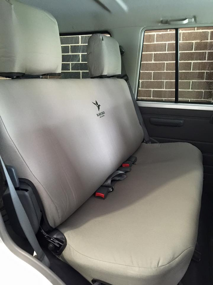 Black Duck Seat Cover To Rear Bench Suitable For Toyota Landcruiser VDJ76 Wagons Grey Denim