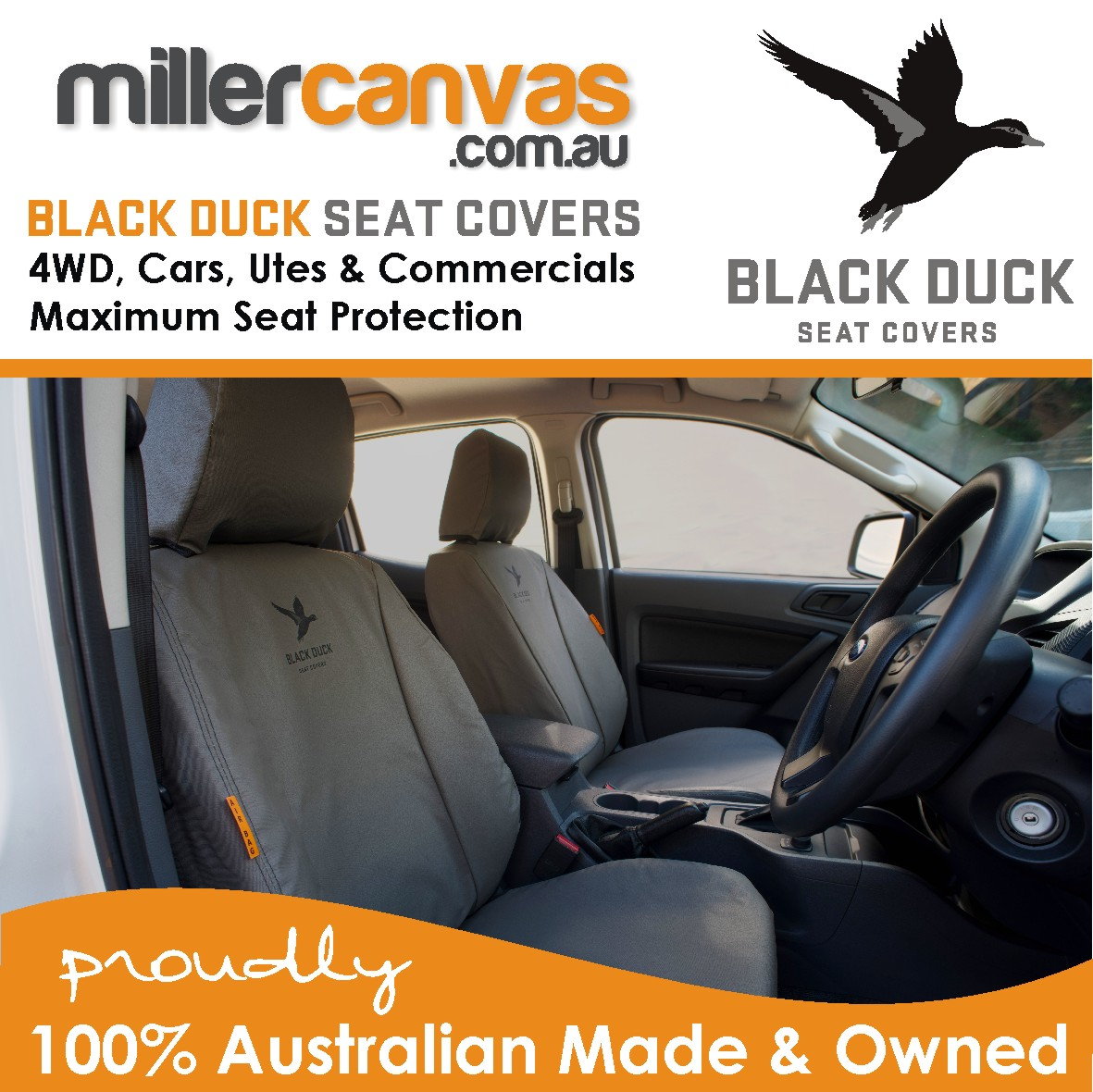 Black Duck Canvas Or Denim Seat Covers Suitable For Nissan Navara D23 NP300 RX