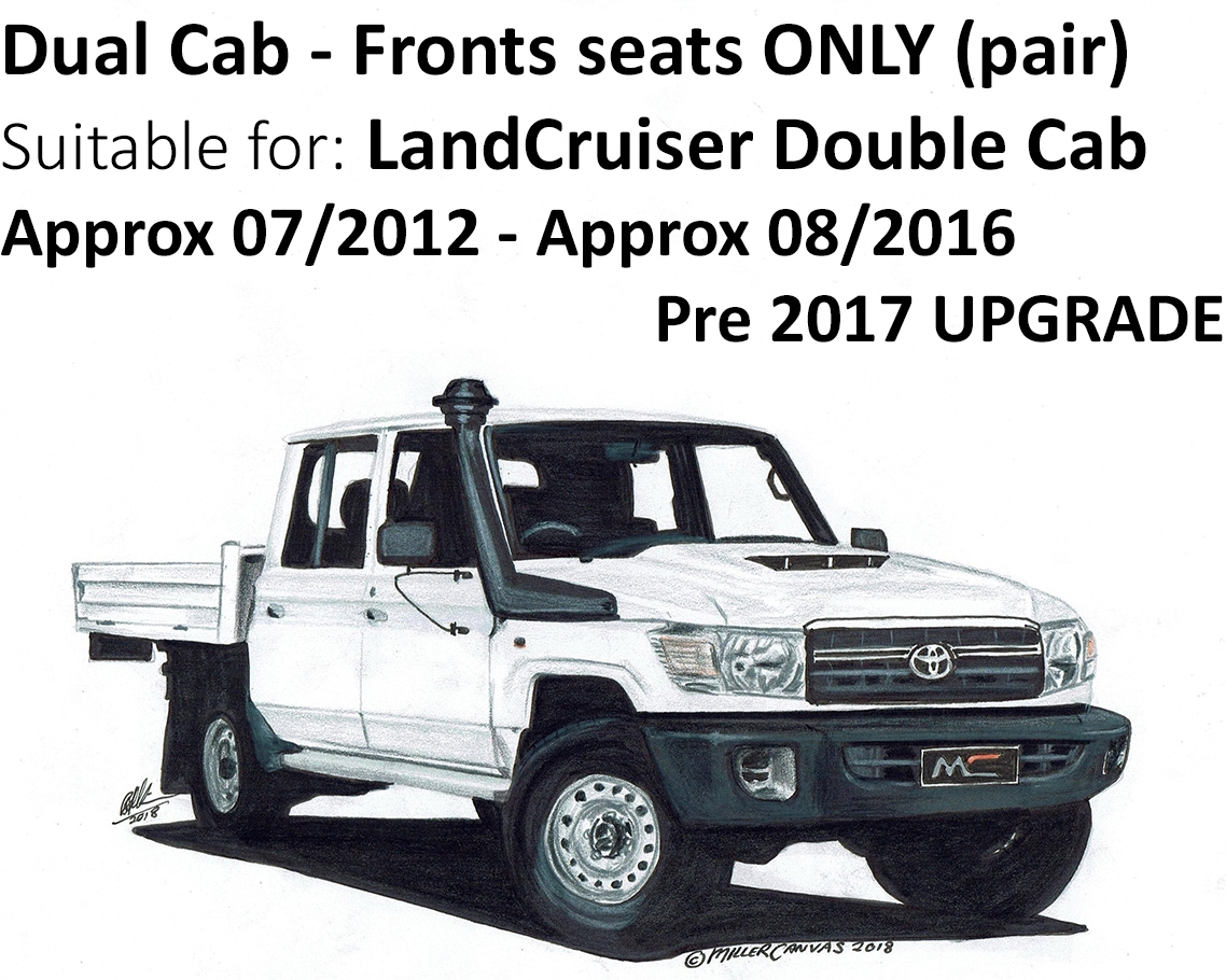 Black Duck Seat Covers Suitable For Landcruiser Dual Cab