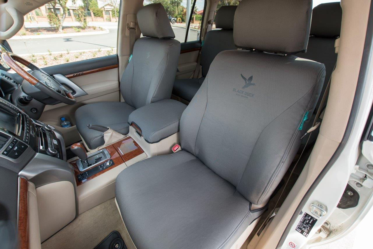 Black Duck Seat Covers Suitable For Toyota Landcruiers 200 Series Sahara Grey Denim Shown