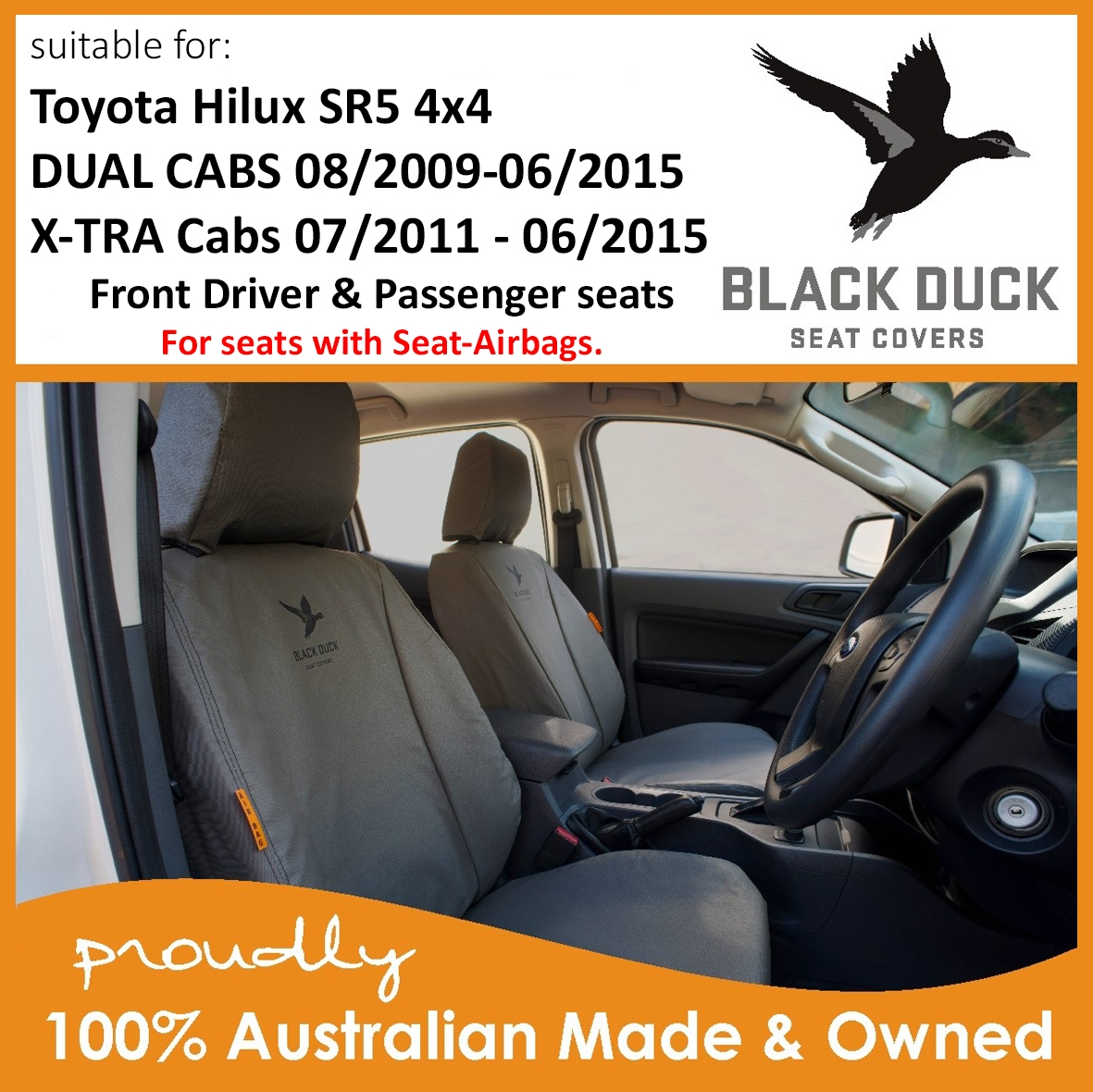 BLACK DUCK SEAT COVERS suitable for TOYOTA HILUX SR5 4x4 utes
