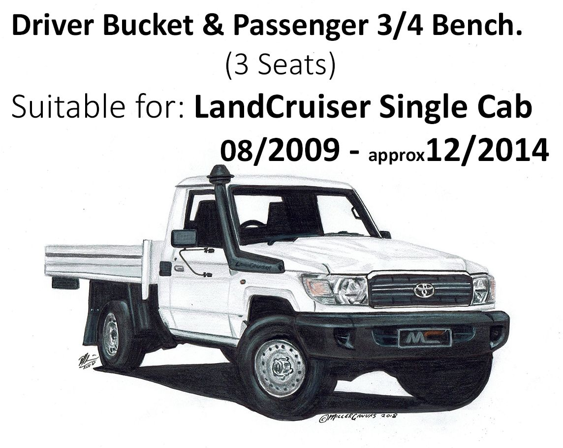 Black duck seat covers driver bucket passenger 3 4 bench 3 seater suitable for landcruiser single cab vdj79 workmate gx from 08 2009 approx