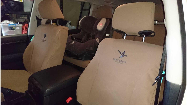 Black Duck SEat Covers Toyota Landcruiser 200 Series Sahara Brown Canvas Shown