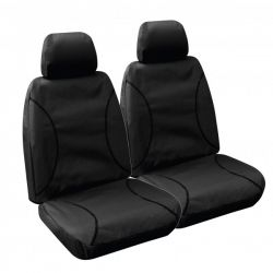 """TRADIES""  BLACK CANVAS SEAT COVERS suitable for TOYOTA HILUX SR and SR5 DUAL CAB - from 7/2015 - CURRENT."