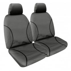 """TRADIES""  GREY CANVAS SEAT COVERS suitable for TOYOTA HILUX SR and SR5 DUAL CAB - from 7/2015 - CURRENT."