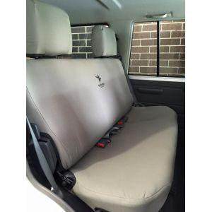 Black Duck Seat Cover to Rear Bench suitable for Toyota Landcruiser VDJ76 Wagons (Grey Denim shown)