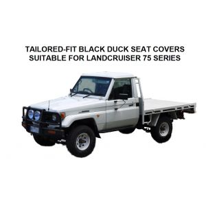 Black Duck™ Canvas Seat Covers offer maximum seat protection and are suitable for Toyota Landcruiser 75 Series Utes & Troopy,