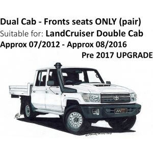 BUY Black Duck® SeatCovers - Double Cab Front  Seats ONLY - suitable for VDJ79 Landcruiser - from 2012 onwards until 2017 UPGRADE in 08/2016.