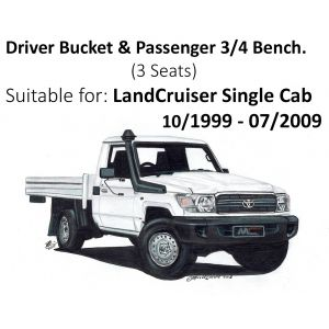 BUY Black Duck® SeatCovers - Driver Bucket & Passenger 3/4 Bench (3 seater) - suitable for LANDCRUISER SINGLE CAB HZJ79  & VDJ79, 70/79 series (from 10/1999 - 07/2009)