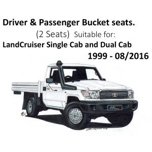 Black Duck® SeatCovers - Driver & Passenger Bucket seats (2 seats) - suitable for LANDCRUISER Single Cab & Dual Cab - 70 - 79 series RV/WORKMATE/GX/GXL.
