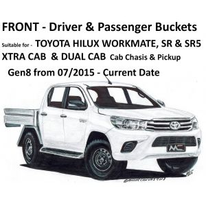 BUY Black Duck Seat Covers - FRONT - Driver & Passenger Buckets (Set) - Suitable for TOYOTA HILUX WORKMATE, SR & SR5 - XTRA Cab & DUAL Cab - NOT SINGLE CABS
