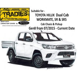 """""""TRADIES""""  CANVAS SEAT COVERS  suitable for TOYOTA HILUX SR and SR5 DUAL CAB - from 7/2015 - CURRENT by Sperling Enterprises."""