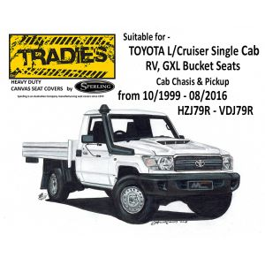 CANVAS seat coverscustom designed andmanufactured by SPERLING ENTERPRISES and are suitable for TOYOTA LANDCRUISER Single Cab - Cab Chassis RV/GXL from 10/1999-08/2016