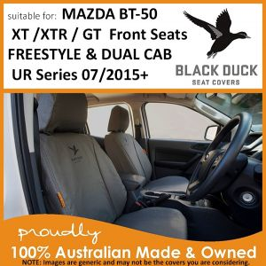 BUY  Black Duck Seat Covers to suit FRONT SEATS for Mazda BT-50 Dual Cab XT / XTR / GT and Freestyle Cab XT / XTR - UR Series.