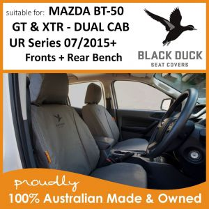 Make sure you fit BLACK DUCK Seat Covers to your MAZDA BT-50 GT and XTR UR Series Dual Cabs, they are the Duck's Nuts in Seat Covers and will protect your seat upholstery for years to come.