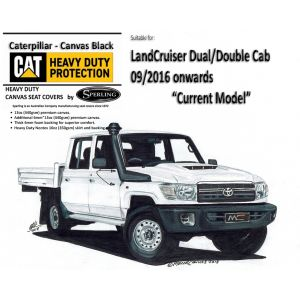 Custom-fit CAT CANVAS SEAT COVERS offer MAXIMUM protection for the seats in your LANDCRUISER 79 series VDJ79 DUAL CAB ute.
