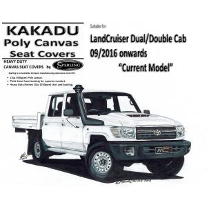 MILLER CANVAS is an ONLINE retailer of KAKADU CANVAS SEAT COVERS suitable for TOYOTA LANDCRUISER VDJ79R - DOUBLE / DUAL CAB from 09/2016 on.