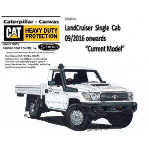 Custom-fit CAT CANVAS SEAT COVERS offer MAXIMUM protection for the seats in your LANDCRUISER 79 series VDJ79 SINGLE CAB CAB ute.