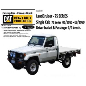 Custom-fit CAT CANVAS SEAT COVERS offer MAXIMUM protection for your seats and are suitable for  LANDCRUISER 75 SERIES Fj75 and HJ75.