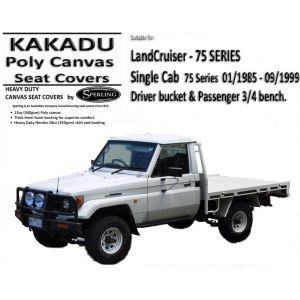 KAKADU - CANVAS SEAT COVERS Seat Canvas suitable for Toyota HZJ75 Landcruiser 75 Series.
