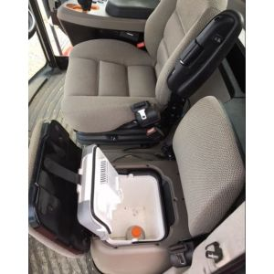 Driver Bucket & Buddy set no head rest CASE IH Headers 2013+ see description, suits machines with Fridge under Buddy Seat  Black Duck™ Canvas Seat Covers. (shows fridge under buddy seat)