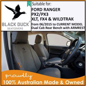 PX3 Ford Ranger - Rear Bench with ARMREST PX3 Ford Ranger XLT & WILDTRAK Dual Cabs 06/2015 onwards. Black Duck® SeatCover