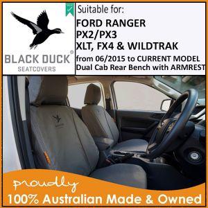 Black Duck 4Elements, Black Duck Canvas and Black Duck Denim Seat Coversto fitFord PX 2/3 Ranger XL, XLS, XLT, FX4 & WILDTRAK Dual Cab rear bench seat