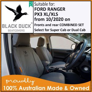 PX3 XL, XLS Ford Ranger -  Front & Rear seats SUPER CAB or DUAL CAB from 10/2020 - CURRENT MODEL Black Duck® SeatCovers