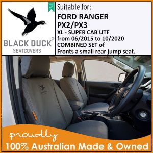 Black Duck® SeatCovers PX2 PX3 Ford Ranger - XL- SUPER CAB COMBINED SET - Front Seats & Rear Jump Seat