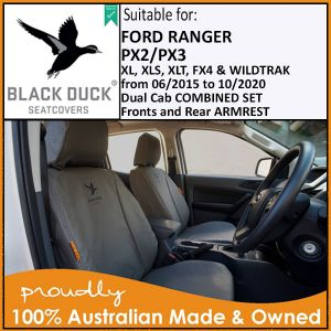 Black Duck® SeatCovers PX2, PX3 & PU FORD RANGER Dual Cab Complete Front Seats & Rear Bench with armrest.
