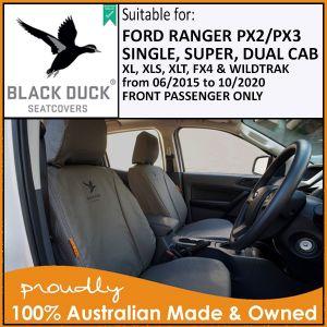 FRONT Passenger Seat ONLY PX2 and PX3 Ranger  XL, XLS, XLT & WILDTRAK 06/2015 - 10/2020. Black Duck® SeatCovers.