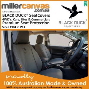 Black Duck® SeatCovers CANVAS, 4ELEMENTS or DENIM SEAT COVERS to suit your NISSAN NAVARA NP300 SL, ST, ST-X AND PRO-4X built from January 2021 onwards.