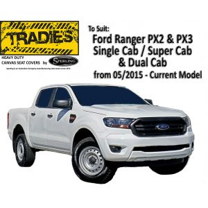 """""""TRADIES""""  CANVAS or NEOPRENE SEAT COVERS suitable for Ford Ranger PX2 PX3"""