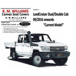 R.M.WILLIAMS   CANVAS SEAT COVERS to suit  TOYOTA LANDCRUISER VDJ79R DOUBLE CAB - 09/2016 - CURRENT YEAR