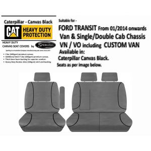 CATERPILLAR - PREMIUM | FOAM BACKED | CANVAS SEAT COVERS to suit  FORD TRANSIT and CUSTOM VAN.