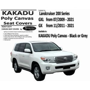 MILLER CANVAS is an ONLINE retailer of KAKADU CANVAS SEAT COVERS suitable for TOYOTA LANDCRUISER 200 series GX and GXL.