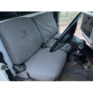 Black Duck Grey Canvas covers fitted to the later FJ 40 series dated from1979 onwards.