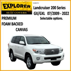 Custom-fit EXPLORER CANVAS SEAT COVERS offer MAXIMUM protection for the seats in your 200 Series GX / GXL.