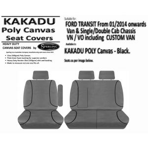 Custom-fit KAKADU POLY CANVAS SEAT COVERS offer MAXIMUM protection for the seats in your FORD TRANSIT and FORD TRANSIT CUSTOM VAN