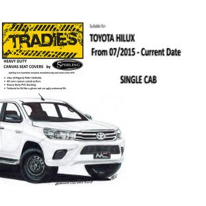 """""""TRADIES""""  CANVAS SEAT COVERS  suitable for TOYOTA HILUX -  SINGLE CAB from 7/2015 - CURRENT YEAR by Sperling Enterprises."""
