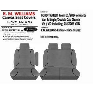 Custom-fit R.M. Williams CANVAS SEAT COVERS offer MAXIMUM protection for the seats in yourFORD TRANSIT VAN / CAB CHASSIS and TRANSIT CUSTOM (VN/VO) VAN, 3 Door Van, 2 Door Cab Chassis, 4 Door Cab Chassis.